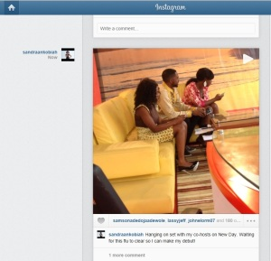 Sandra Ankobiah (hostess of a TV3's sunrise) uses the video application to give a sneak peek into the making of the show! I am sure her followers would be interested!