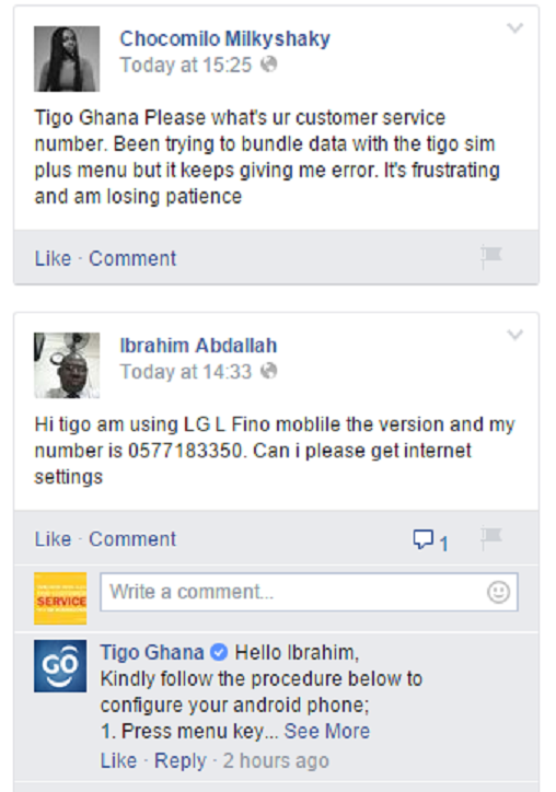 Tigo Customer Service on FB