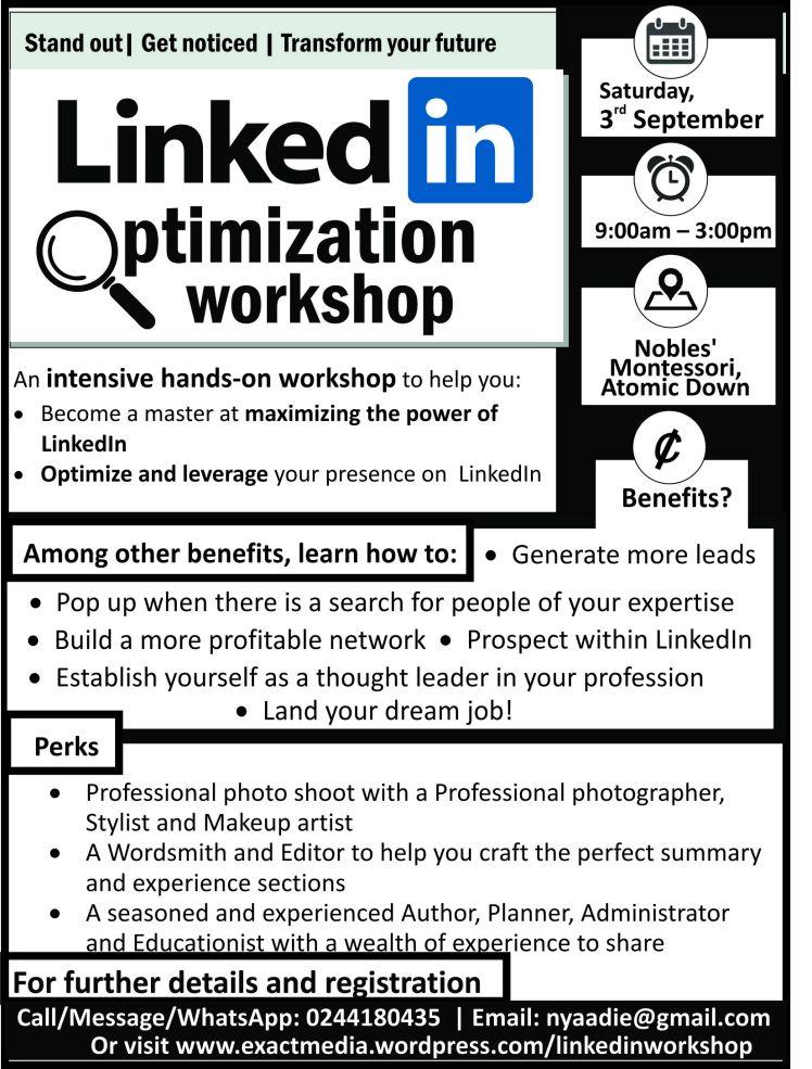 LinkedIn Optimization Workshop, LinkedIn Training in Ghana, Social Media Training in Ghana, Esther Nyaadie Social Media Training