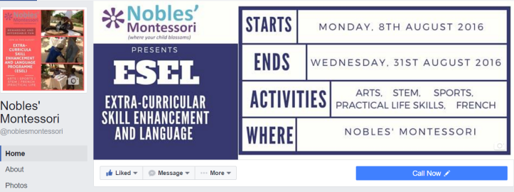 Noble's Montessori. Boost your business with Social Media. Esther Nyaadie