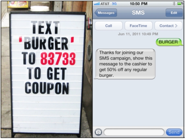 An example of an SMS Marketing Campaign - Image source: /media.licdn.com/