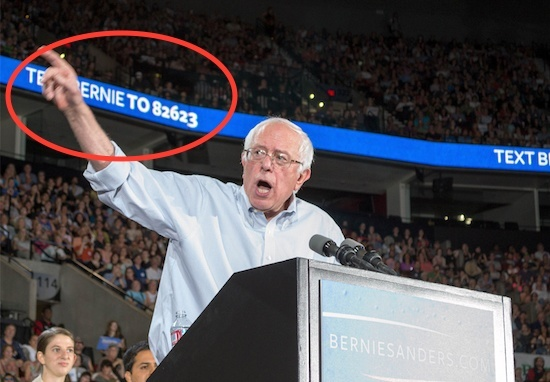Bernie Sanders used SMS Marketing in his campaign. The circle indicates bold advertisements for his SMS code during one of his campaign events. Surveys show SMS marketing services are found to be successful among all age groups. Even those over the age of 40 are more likely to actively engage in extended conversations using the medium.