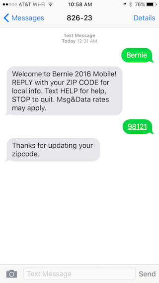 An interaction between a subscriber to the Bernie Sanders campaign