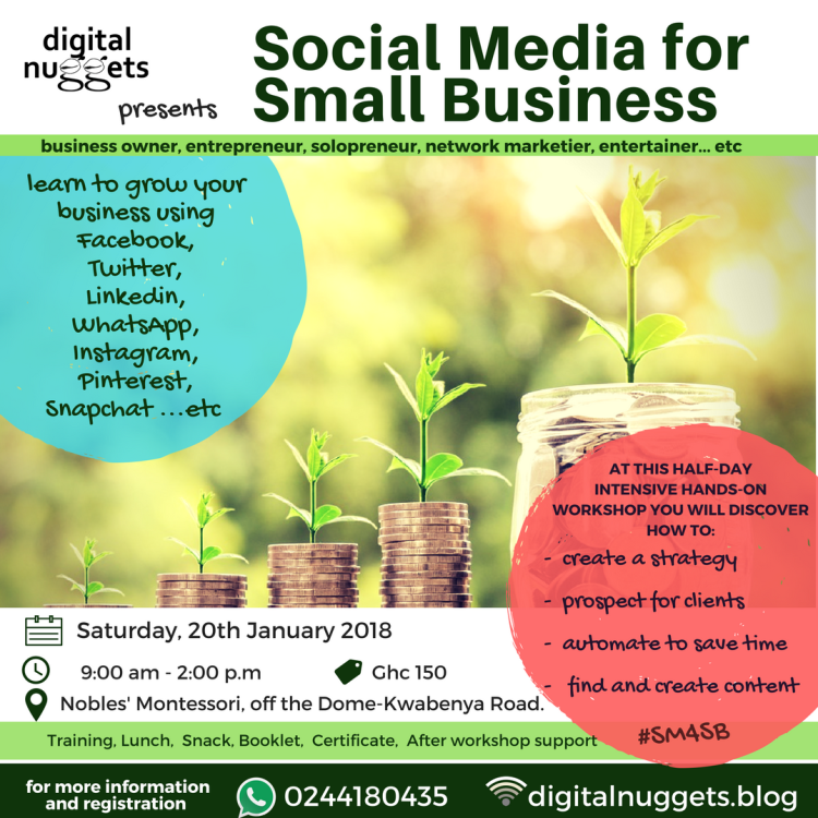 Social Media for Small Business Training Workshop with Esther Nyaadie. Digital Nuggets